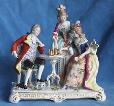 Antique Carl Thieme Potschappel CHESS PLAYING Figures Group Dresden Germany