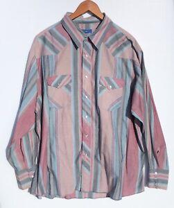 Vintage Wrangler Men's Long Sleeve Pearl Snap Button Up Shirt Size XXL 2XL