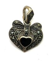 Sterling Silver 925 Oxidized Marcasite Pave Black Onyx Heart Love Bow Pendant