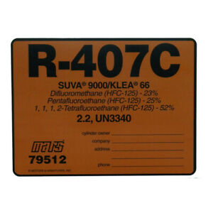 R-407C / R407C SUVA 9000 KLEA 66 /  79512 UN3340 Refrigerant Label , Sold Each