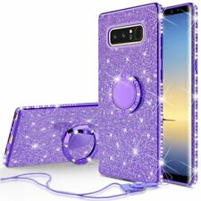 Samsung Galaxy Note 9 Glitter Bling Phone Case Girls Ring Kickstand Purple