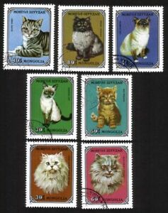Domestic Cats: Persian, Siamese, Tabby, Etc Complete Set of 7 Different