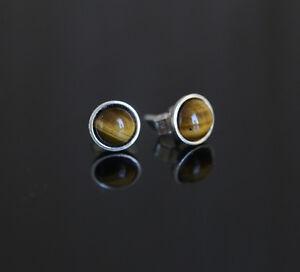 925 Sterling silver stud earrings with 6mm natural Tiger Eye gemstones