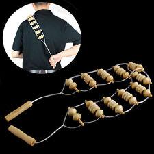 Beige Wooden Wheel Body Back Waist Neck Care Roller Comfortable Massager Care
