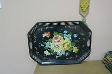 "VINTAGE TOLEWARE TOLE BLACK TRAY SHABBY  FLOWERS 18"" X 24"""