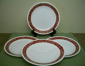 """Set of 4 Corelle BANDHANI Red Lunch Plates 8.5"""""""