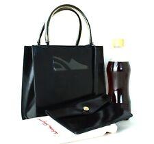 Auth Salvatore Ferragamo Logo Black PVC Leather Mini Tote Hand Bag Purse Italy