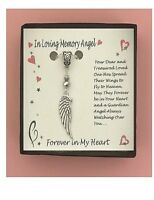 Beautiful Detail In Loving Memory Angel Wing Boxed Charm Necklace FREE SHIPPING