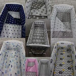 6 Pcs Baby CRIB Bedding Set 90x40cm fit Swinging Rocking Cradle ALL ROUND Bumper