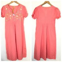 NWT April Cornell Embroidered Coral Midi Dress XS Textured