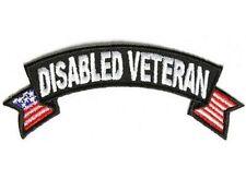 Disabled Veteran Rocker With US Flags POW VET Motorcycle MC Biker Patch PAT-3557