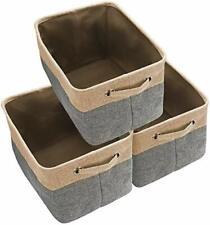 Large Storage Basket Bin Set [3-Pack] Storage Cube Box Foldable Canvas Fabric