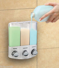Croydex White Trio Wall Mounted Soap Shampoo Dispenser Shower Kitchen Bath Gel