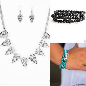 NEW Paparazzi Jewelry Silver Necklace Black Turquoise Blue Bracelet Set