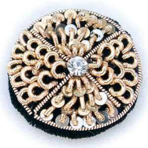 """1"""" Sewing Buttons Hand Embroidered With Gold Bullion Clear Gem for Jackets 6 PC"""