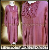 VINTAGE 1980s Boho Festival Hippy Dress Purple Embroidered Bib Maxi UK 10 12 14