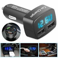 Dual /3 USB Ports 3.1A Car Cigarette Lighter Charger 1224V Digital LED Voltmeter