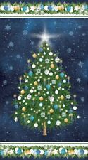 "Oh Christmas Tree Panel By Northcott Fabrics-Approx. 23"" x 43""-Navy B/G"