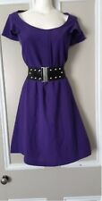 City Chic Purple Ruffled Cap Sleeve Dress With Belt Size S
