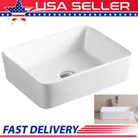 Bathroom Sink Vessel Sink 21 Inch Porcelain Rectangular White Above Counter USA