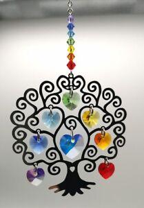 Chakra Tree of Life Hanging Crystal Suncatcher Swarovski® Hearts & Beads BOXED