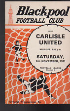 Carlisle United at Blackpool Soccer Program Football November 6 1971