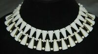 "Vintage White Double Strand Choker Necklace Wide 2"" Costume Jewelry Beaded"