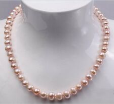 """Fashion Real Natural Purple 8-9mm Cultured Freshwater Pearl Necklace Jewelry 18"""""""