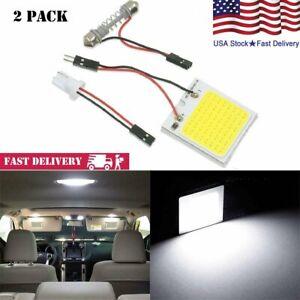 2 Pack White Light 8 SMD COB LED T10 12V 4W Car Interior Panel Lights Dome Lamp