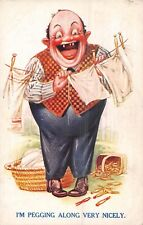 POSTCARD COMIC   BAMFORTH   Husband  Clothes  Line  Pegging  Along