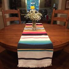 "World Market Table Runner Stripped Canvas Fringe 14"" X 72"""