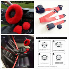 3X Red Wool Car Steering Wheel Cover Set+Retractable 3Point Safety Seat Lap Belt