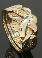 9 Carat 3 Colour Gold 4 Piece Puzzle Ring Size P 9CT (06.41.001)