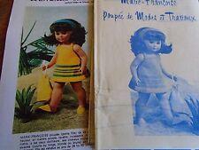 """T9 PATRON POUPEE MARIE. FRANCOISE M ET TRAVAUX"""" ROBE BAIN DE SOLEIL TRICOT 1975"""