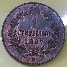 Regno D'Italia V.E.II. 1 Centesimo 1867 M VALORE  in FDC