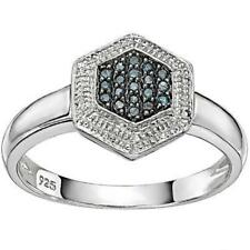 Columbia Blue 0.10ct Diamond Cluster Ring in Platinum/Sterling Silver Setting