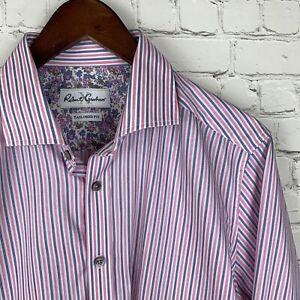 Robert Graham (16/41 - 34-35 Sleeve) Tailored Fit Pink/Blue Floral Striped Shirt