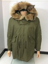 Dsquared2 Ds2 Khaki Military Jacket Coat Age 16 Boys Fits Small Men's Fur Hood