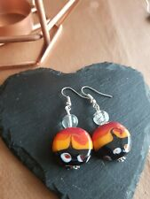 Lampwork drop dangle, silver plated earrings, red 20mm assorted beads (444)