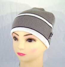 Skimütze Strickkappe Winter warm style cool grau weiß modisch Slazenger NEU Haub