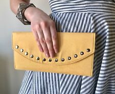 YELLOW STUDDED HANDMADE ENVELOPE CLUTCH BAG FAUX SUEDE