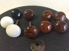 Vintage Ceramic Door Knobs: Lot Of 9 White/Brown/Black 2�, w/some hardware