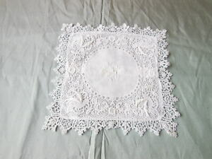 Antique Lace and Linen Small Cushion/Pillow Cover/Bird Detail