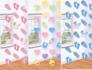 Baby Shower Christening Party Boy Girl Pink Blue Pastel String Decorations