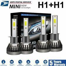 Combo H1+H1 4PCS 3400W COB LED Headlight Kits High & Low Beam Bulbs 6000K White
