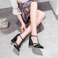 Women's T-Strap High Heels Patent Leather Pointed Toe Elegant Buckle Pumps Shoes