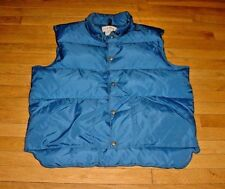 Vintage L.L.Bean Mens Down Vest Jacket Blue Nylon Logo-Buttons XL-TALL XLT Nice!