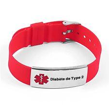 IDtagged Silicone Medical Alert Diabete de Type 2 Polished Steel Tag ID Bracelet