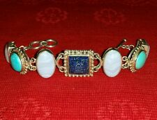 WHITNEY KELLY WK 925 CARVED LAPIS TURQUOISE BLUE LACE AGATE BRACELET QVC HSN