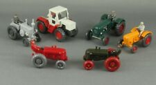 Vintage 1950s/60s Wiking Germany 6 Pc Tractor Collection w/ Rare Red Wheel Model